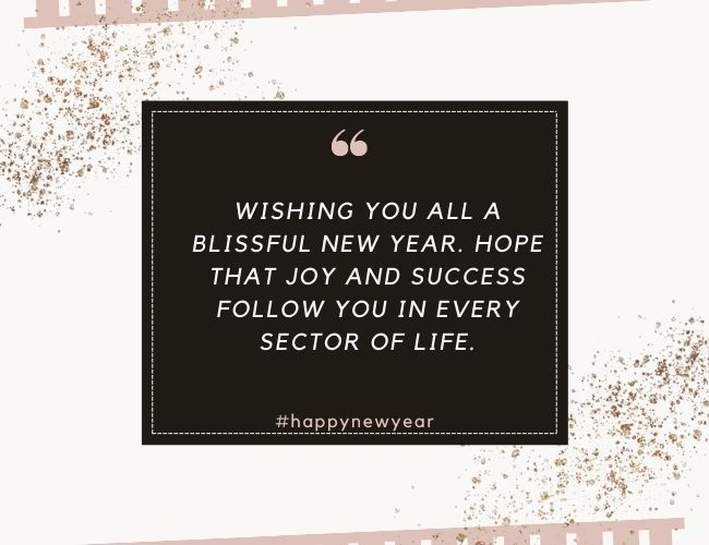 Wishing you all a blissful new year Hope that joy and success follow you in every sector of life